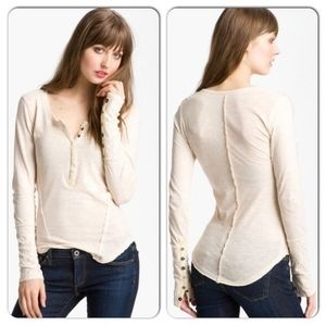 Free People Cream Lace Snap Cuff Henley Thermal M